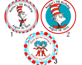 Personalized Cat in the Hat, Dr. Seuss Thing 1 and Thing 2 Birthday Stickers/ round label
