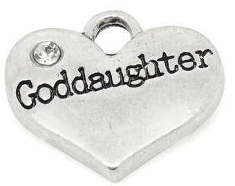 Goddaughter Heart Charm with Stone *add on* Only