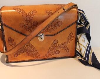 Vintage Tooled Leather Handbag - Leather Roses - Large Leather Purse - Rose Decals - Bonus Scarf