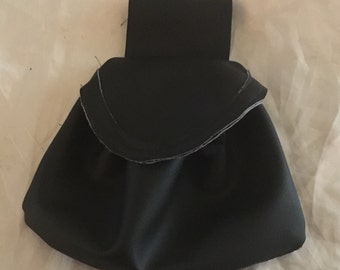 Drawstring Black pleather belt bag