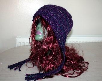 Purple Ear Flap Hat, Womens Knitted Beanie Hat, Womens Accessories Purple Hat