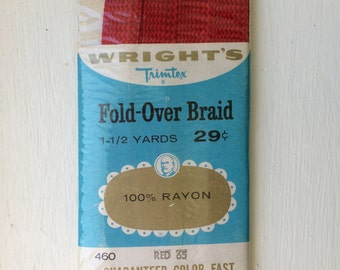 """Vintage New Red Fold-Over Braid Trim 1/2"""" wide x 1-1/2 yards by Wright's 100% Rayon"""