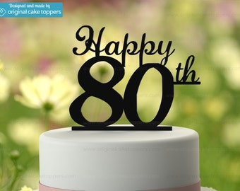 "80th Birthday Cake Topper - ""Happy 80th"" - BLACK - OriginalCakeToppers"