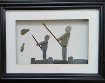 Pebble Art Father and Son Fishing.