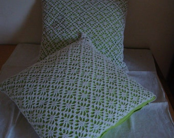 Pillows with crochet lace