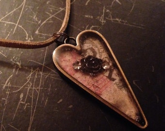 Resin Rose Pendant Necklace