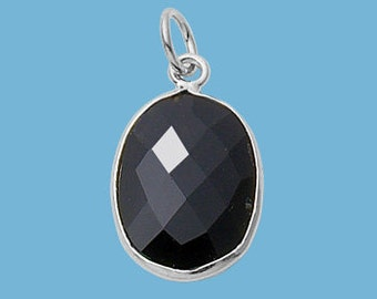 Small Black Onyx Sterling Silver Oval Pendant, 13x16mm