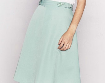 1970s Wrap Skirt | Seafoam Green Skirt | 70s Polyester Skirt