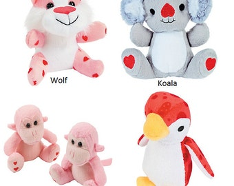Personalized Valentines's Day Stuffed Animals, Valentines Stuffed Animal, Stuffed Animals, Koala, Wolf, Penguin, Monkey, Monogrammed
