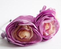 Purple flower crown, flower headpiece, flower crown adult, floral headband wedding, floral crown adult, satin flower, handmade, Three Snails