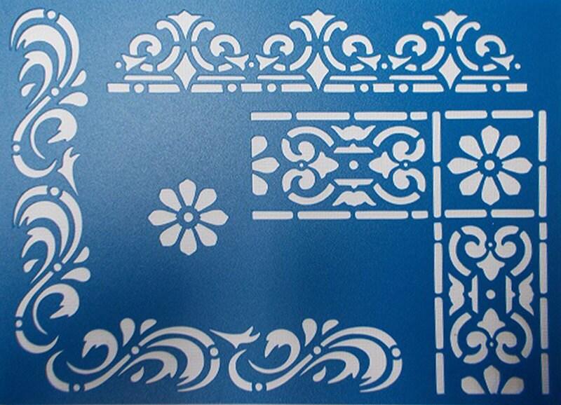 Retro Border Stencils : Corners and borders stencil from kraftkutz on etsy studio
