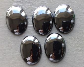 30x22mm Natural Hematite Oval Cabochon - Lot of 5 pcs
