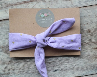 Purple and Gold Heart Top Knot