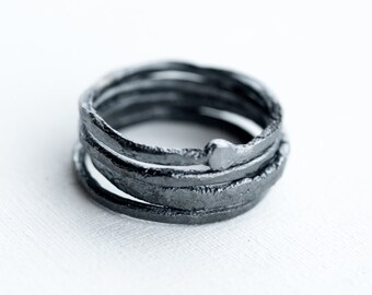 black water rings - raw ragged hammered black oxidized sterling silver ring stack of four, textured silver ring stack, raw stacking ring