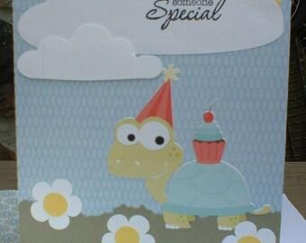 Turtle Cupcake Handmade Birthday Greeting Card