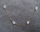 Moonstone Necklace/Gold and Moonstone Necklace/Moonstone Bead Necklace/Chain and Gemstone Necklace/White Gemstone Necklace