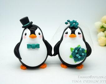 Penguin Wedding Cake Toppers-Love Birds Wedding Cake Toppers Teal Themed-Country Wedding Cake Toppers