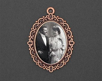 Custom Made With Your Photo! Copper Oval Vintage Style Wedding Bouquet Charm