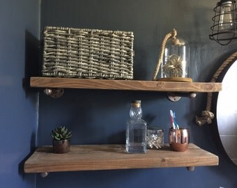 Pipe and Wood Shelves Shelf Industrial Shelves - Rustic Shelves-  shabby chic industrial modern