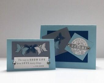 Handmade Cards - 10 Card set - Butterflies - Turquoise Blue
