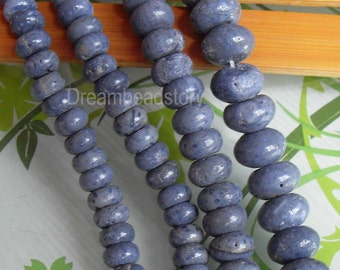Natural Blue Sponge Coral Rondelles Abacus Spacer Beads Supplies