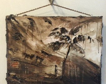 "Memory of a Tropical Storm-Original Art-12""X16""-Ready to Hang"