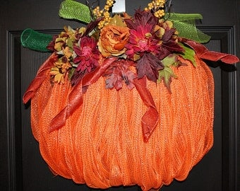 Thanksgiving Wreath, Fall Wreath, Autumn Wreath, Fall Deco Mesh Wreath, Autumn Deco Mesh Wreath, Deco Mesh Wreath, Pumpkin Wreath