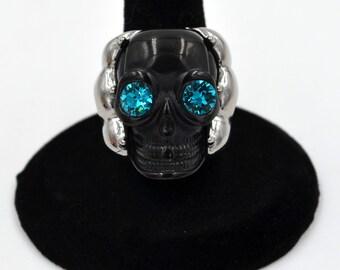 Stainless Steel Caged Blue Eyed Skull 2 Tone Black Ring