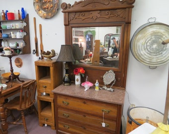 Antique Carved Wood Marble Top Dresser With Mirror