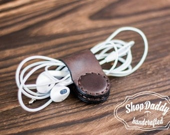 Leather Headphone Holder, Earbud organizer, Initial, Wire organizer, Cable keeper, Earphone wrap