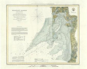 Wellfleet Harbor Nautical Chart 1852