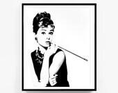 ON SALE Audrey Hepburn Wall Art, Breakfast at Tiffanys Decor, Printable Fashion Art, Audrey Hepburn Print, Audrey Hepburn, instant download