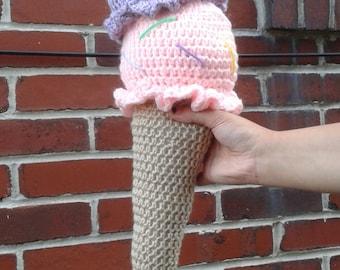 Double Scoop Crochet Ice Cream Cone Pillow/Plushy