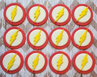 12 Fondant Flash super hero inspired cupcake toppers