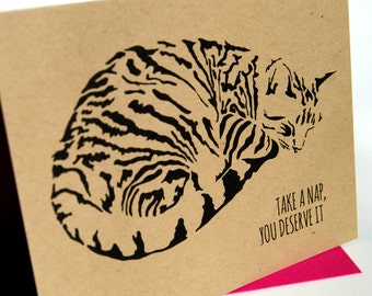 Congratulations Cat Card, You Deserve It, Well Done, Take A Nap Tabby Cat Card