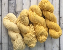 Hand Dyed Wool Yarn, 4 Gradient Skeins Yellow 3 ply Worsted Wool, 1lb, Pale Light Medium Bright Color Blend, Knit Crochet Weave Rug Hooking