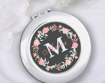 Personalized Floral Compact Mirror & Velvet Pouch, Bridesmaid Gift, Wedding Bridal Party Gift, Bachelorette Gift, Monogram Pocket Mirror