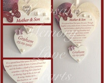 Mother & Son gift wooden keepsake heart