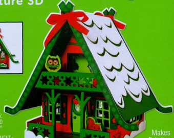 SANTA'S WOODLAND HOUSE + Owl + Animals 3-D Foam Craft Kit for Kids & Adults