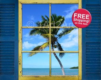 Palm Tree Window Shutter Art, Key West, Florida Wall Art, Beach House Art, Coastal Living Art, Beach Art, FREE Shipping!