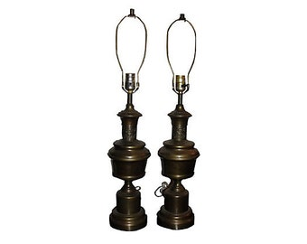 Antiqued Brass Cut Out Lamps, Pair