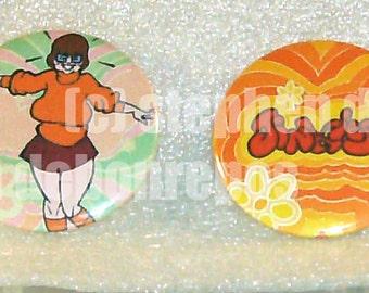 JINKIES!! Velma Dinkley/Scooby Doo buttons - set of 2!!