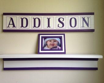 Personalized nursery name sign/child's name sign/custom kid's name sign/baby girl nursery/amethyst white nursery decor/nursery wall decor