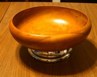 "vintage Hellerware 9"" wooden bowl with chrome base"