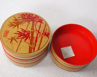 Japanese Jubako Lacquered Lunch Box, 5 stages, Japanese IMITATION lacquerware, Bamboo and red color high gloss, NatsukashiiJAPAN 20cm