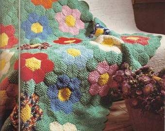 """Crochet Pattern For A Flower Garden Afghan - PDF Instant Pattern Download -  Quick and Easy Grandma's Flower Garden """"Patchwork"""" Afghan!"""