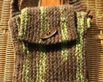 Pistachio & Brown Felted shoulder bag