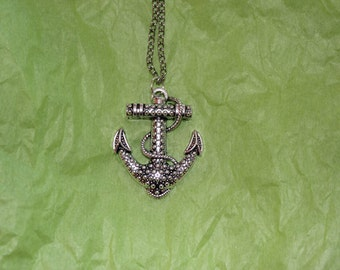 large ornate anchor necklace