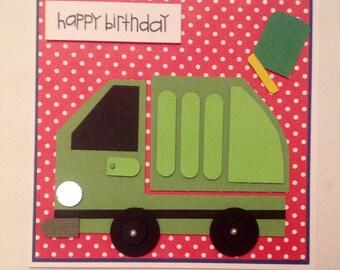 Garbage truck birthday card