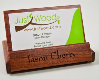 Personalised Rosewood Business Card holder wooden present, gift fathers day, dad, work gift JustWood, laser engraved.